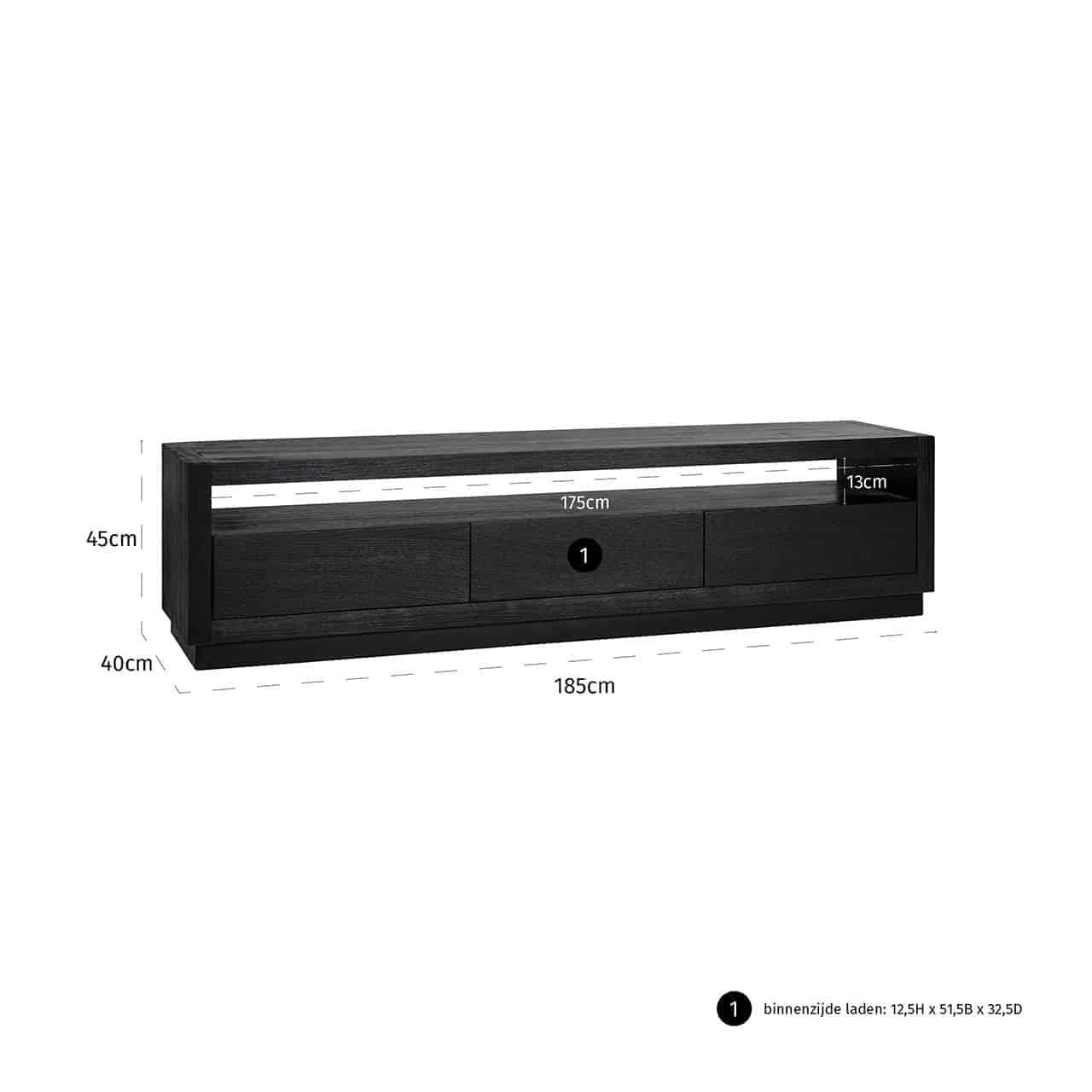 TV dressoir Oakura 3-laden (Black)