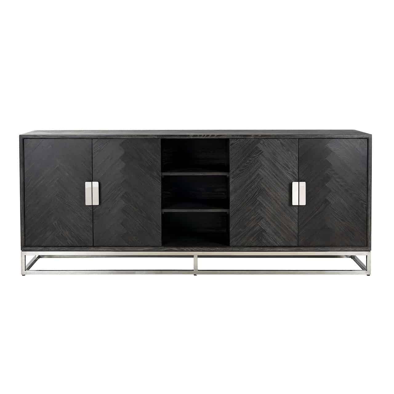 Dressoir Blackbone silver 4-deuren + open vak (Black)