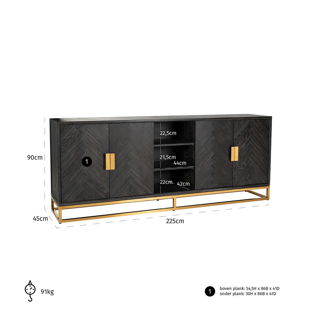 Dressoir Blackbone gold 4-deuren + open vak (Black)