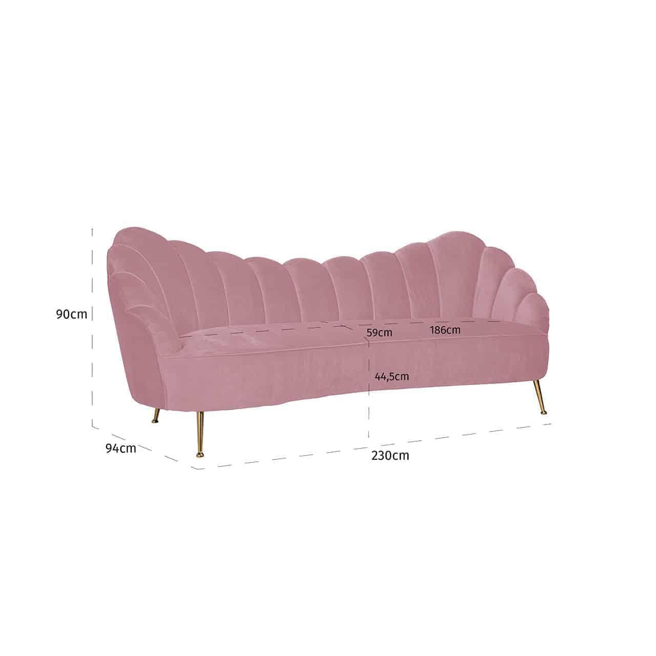 Bank Cosette 3-zits Pink Velvet / gold (Quartz Pink 700)